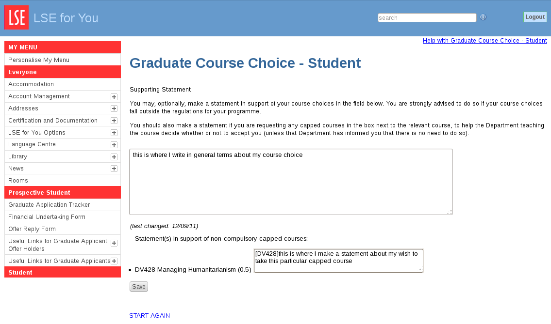 lse graduate application personal statement